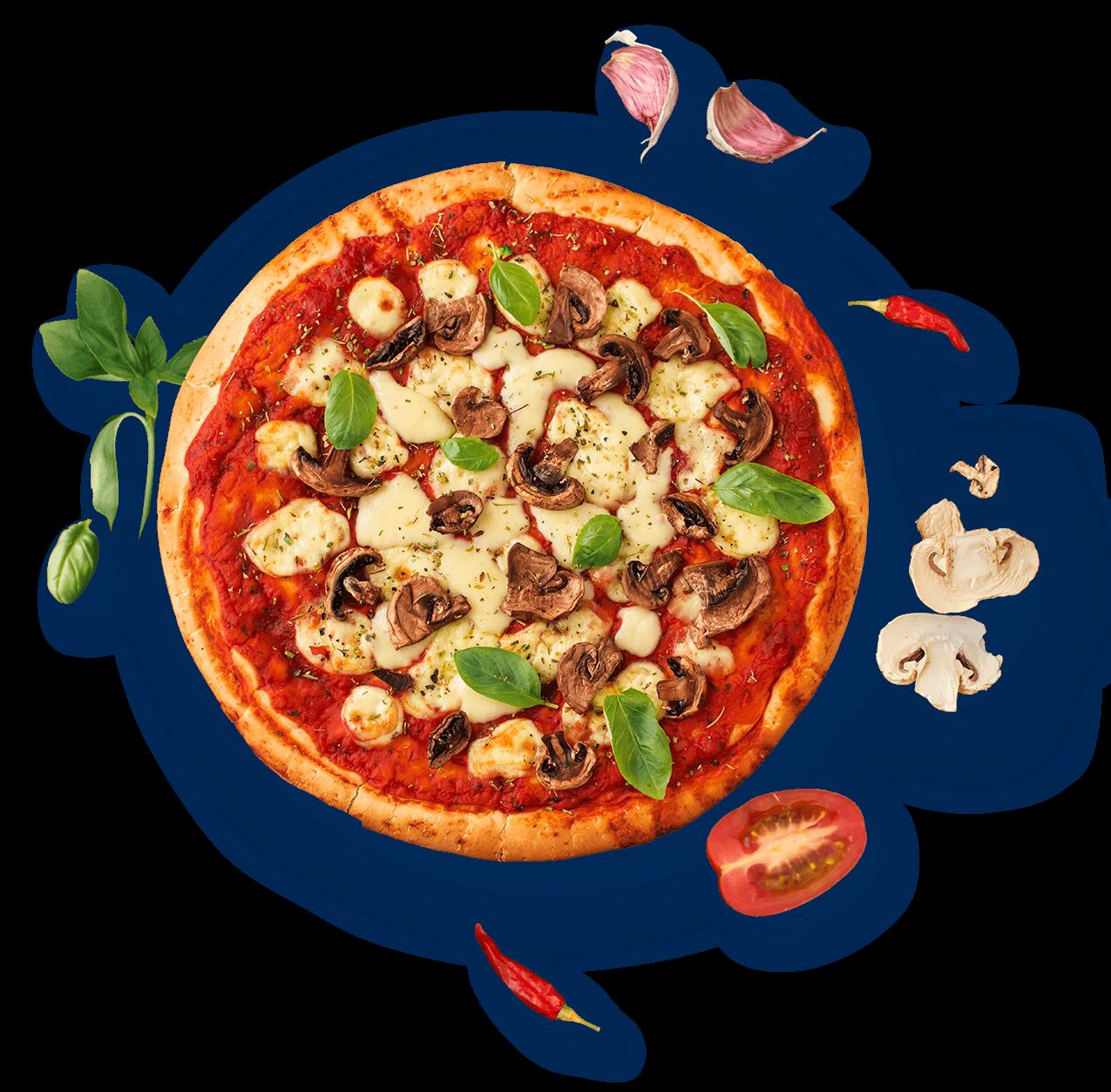 Pizza met verse ingrediënten bestellen