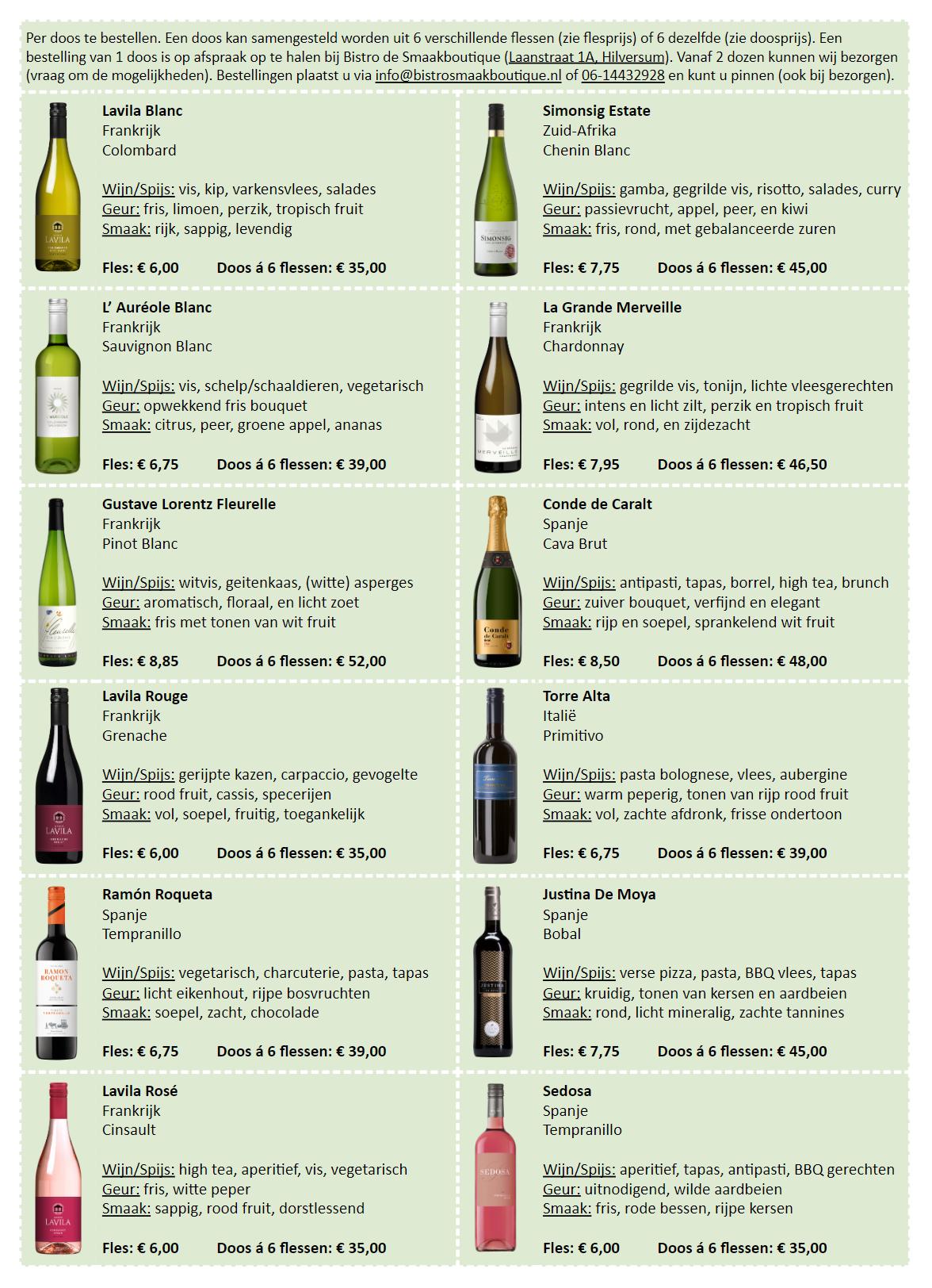 Wijnen Smaakboutique Bestellijst